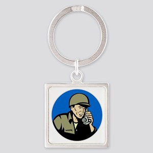 world war two soldier walkie talki Square Keychain