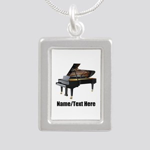 Piano Music Personalized Silver Portrait Necklace