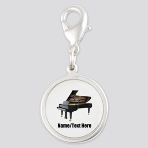 Piano Music Personalized Silver Round Charm