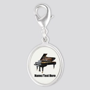Piano Music Personalized Silver Oval Charm