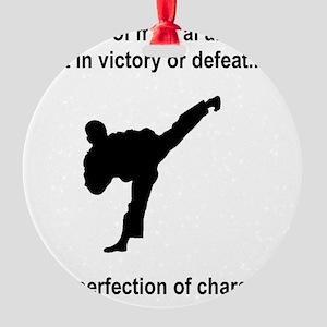Martial Arts Character Black Round Ornament