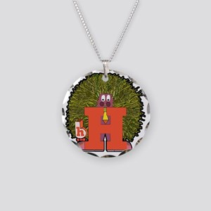 H Necklace Circle Charm