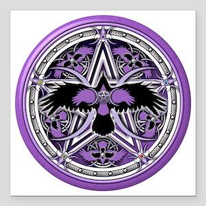 """Purple Crow Pentacle Square Car Magnet 3"""" x 3"""""""