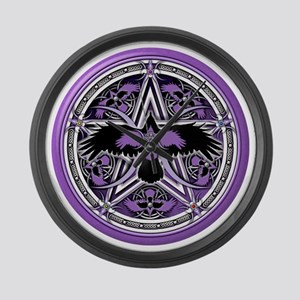Purple Crow Pentacle Large Wall Clock