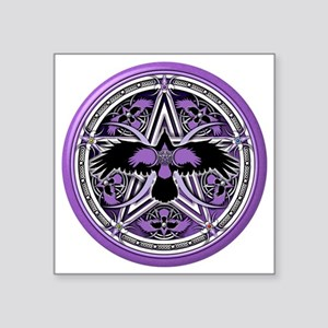 "Purple Crow Pentacle Square Sticker 3"" x 3"""