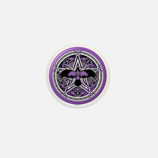 Purple Crow Pentacle Mini Button