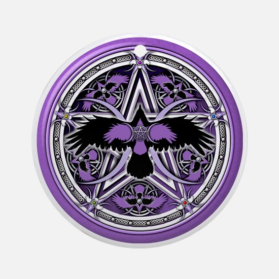 Purple Crow Pentacle Round Ornament