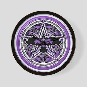 Purple Crow Pentacle Wall Clock