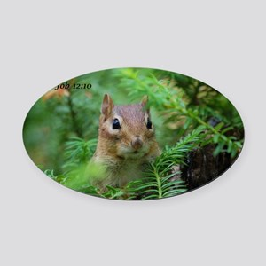 Chipmunk With Verse Oval Car Magnet