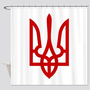 Tryzub (Red) Shower Curtain