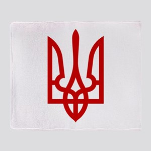 Tryzub (Red) Throw Blanket