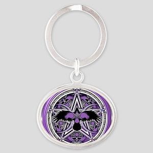 Purple Crow Pentacle Banner Oval Keychain