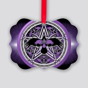 Purple Crow Pentacle Banner Picture Ornament