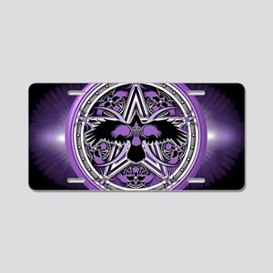 Purple Crow Pentacle Banner Aluminum License Plate