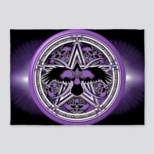 Purple Crow Pentacle Banner 5 X7 Area Rug