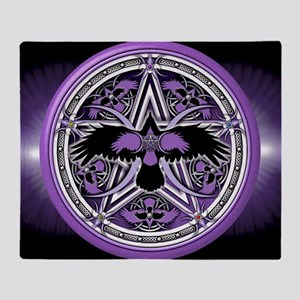 Purple Crow Pentacle Banner Throw Blanket