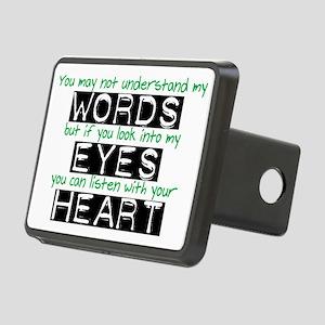 Words Eyes Heart black Rectangular Hitch Cover