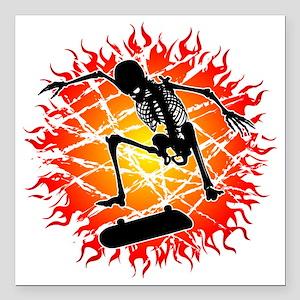"kickflip_esqueleto Square Car Magnet 3"" x 3"""