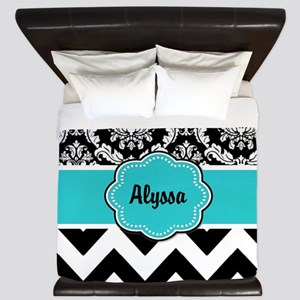 Blue Black Damask Chevron King Duvet