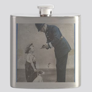 Old Police Print Flask