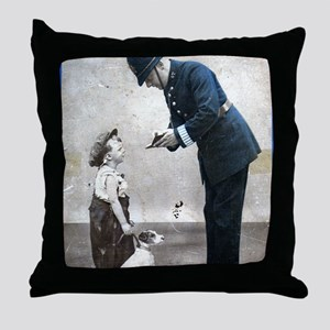 Old Police Print Throw Pillow