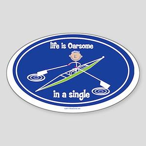 oarsone_in_single_boy Sticker (Oval)
