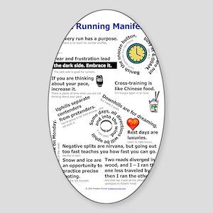 The Running Manifesto v2.0 - Mini P Sticker (Oval)