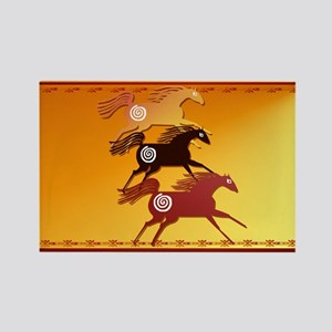 Wall Peel 3 Ancient Horses Rectangle Magnet