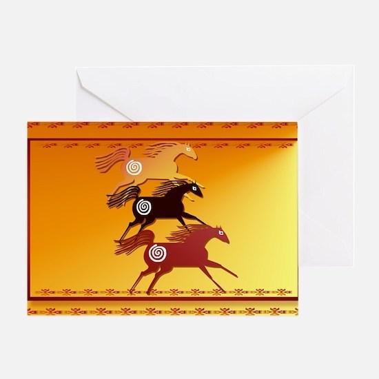 Wall Peel 3 Ancient Horses Greeting Card