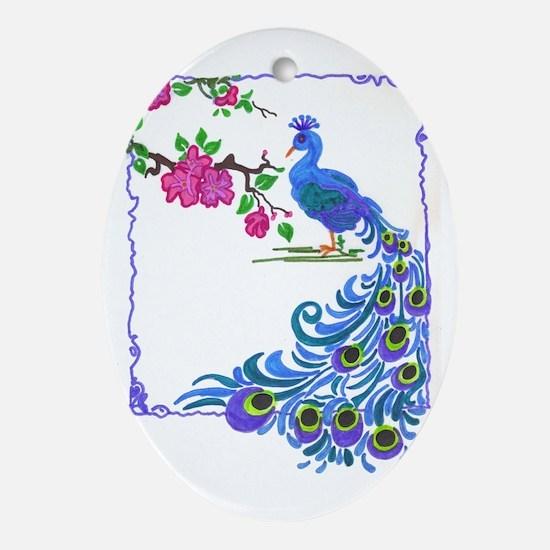 Pretty Peacock Oval Ornament
