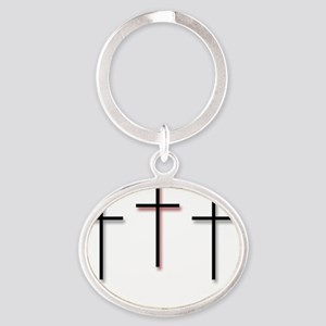 3_H_F_3Crosses-Large Oval Keychain