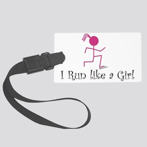 Run like a girl stick Large Luggage Tag