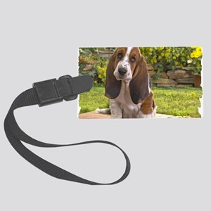 Basset puppy Large Luggage Tag