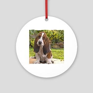 Basset puppy Round Ornament