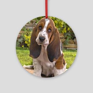 Basset puppy shirt Round Ornament