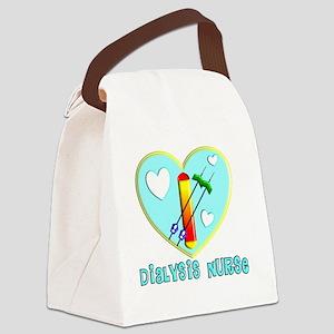 Dialysis nurse Blue Heart Canvas Lunch Bag