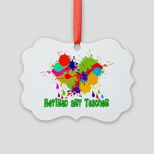 Retired ARt Teacher Paint Splatte Picture Ornament