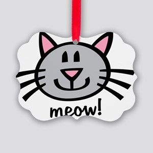 Gray Meow Picture Ornament