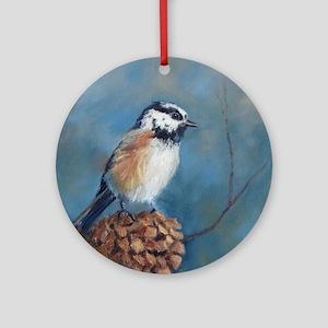 Chickadee 2 Round Ornament