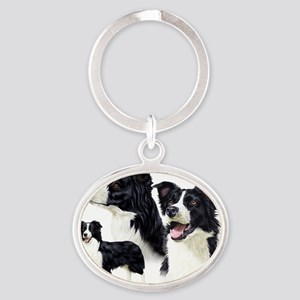 Border Collie Multi Oval Keychain