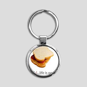 PB  J Life is Good Round Keychain