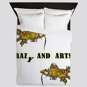 crazy and arts_two fishes Queen Duvet