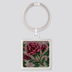 Ivy and Roses Square Keychain