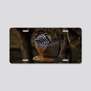 (1) Red Shouldered Hawk Fly Aluminum License Plate