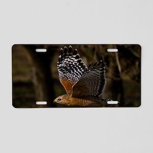 (1) Red Shouldered Hawk Fly Aluminum License Plate