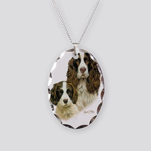 Eng Springer  Pup Necklace Oval Charm