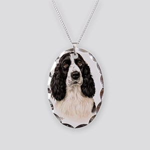 Eng Springer B  W Necklace Oval Charm
