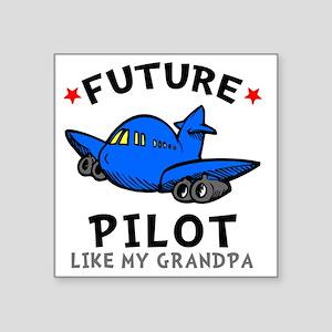 """Pilot Grandpa Square Sticker 3"""" x 3"""""""