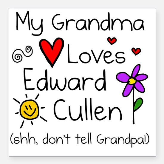 "Gma Loves Ed Shh Square Car Magnet 3"" x 3"""