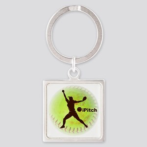 iPitch Fastpitch Softball (right h Square Keychain